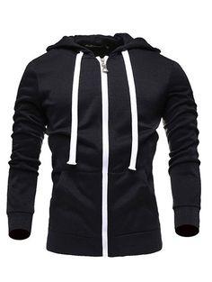 Zip Up Long Sleeves Plain Drawstring Hoodie #jewelry, #women, #men, #hats, #watches