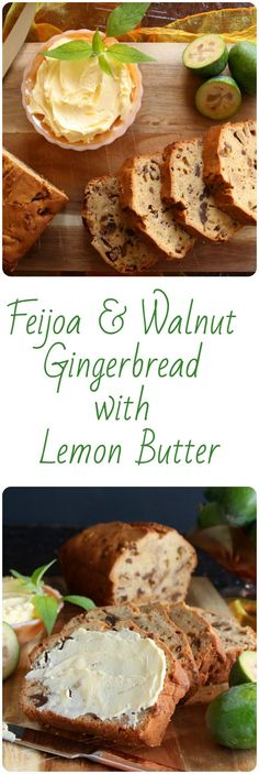 One of New Zealand's favourite fruits, the feijoa, in a crispy walnut, gingerbread loaf, served with zesty lemon butter Bread Recipes, Cake Recipes, Friend Recipe, Milk And Eggs, Golden Syrup, Lemon Butter, Original Recipe, Just Desserts, Gingerbread