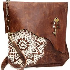 XL Boho Leather Messenger Bag with Crochet Lace & Antique Key - MADE... ($330) ❤ liked on Polyvore featuring bags, messenger bags, purses, accessories, handbags, crochet bags, vintage leather bags, genuine leather messenger bag, courier bags and vintage bags