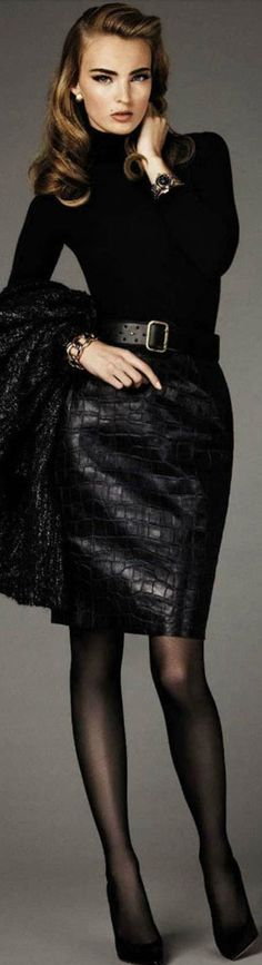Black faux crocodile snakeskin embossed leather skirt.