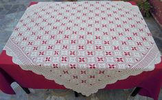 Vintage crochet tablecloth -Traditional Greek handiwork - Cottage chic - Mediterranean style - Table centerpiece - Dining decor - 0001274