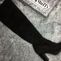 Thigh high lace up boots Worn once for photos Ted and muffy Shoes Over the Knee Boots