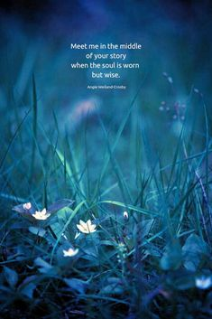soulful love quote with white flowers and grass.Meet me in the middle of your story when the soul is worn but wise. Soul Quotes, Nature Quotes, New Quotes, Music Quotes, Wise Quotes, Qoutes, Young Love Quotes, True Love Quotes, Self Love Quotes