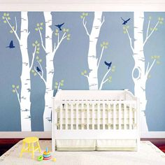 Wide Birch Tree and Birds Wall Decal. Great design ideas to decorate your baby boy and girl room. This DIY project bring the modern touch to your bedroom and nursery. Kids will surely love it!