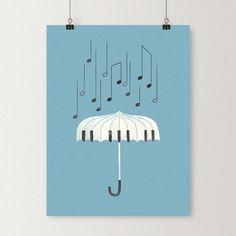 Singing in the rain - Art print Rain Illustration, Love Doodles, Rain Art, Singing In The Rain, Aesthetic Art, Creations, Art Prints, Diary Ideas, Drawing