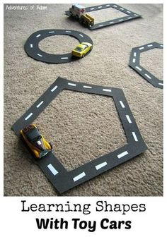 Learning Shapes With Toy Cars – awesome idea for hands-on learning about shapes! Learning Shapes With Toy Cars – awesome idea for hands-on learning about shapes! Preschool Classroom, Preschool Learning, Educational Activities, Toddler Activities, Cars Preschool, Maths For Toddlers, Activities For Preschoolers, Transportation Theme Preschool, Preschool Ideas