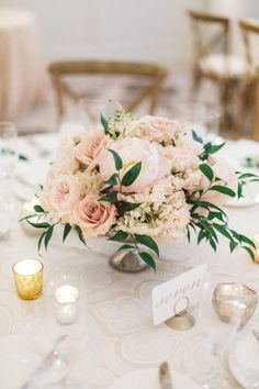 Rose and hydrangea wedding centerpiece: http://www.stylemepretty.com/california-weddings/santa-barbara/2017/03/06/turning-a-favorite-getaway-spot-into-a-gorgeous-destination-wedding/ Photography: Anna Delores - http://www.annadelores.com/