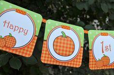 Pumpkin 1st Birthday MINI Banner  Halloween by sosweetpartyshop, $16.00