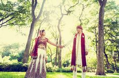 indian wedding outdoor photography bride groom red white outfits http://maharaniweddings.com/gallery/photo/11642