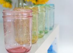 craft of the day - tinting glass with food coloring and glossy mod podge
