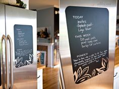 This is awesome! Vinyl chalkboard for the fridge. via ashleyannphotography.com