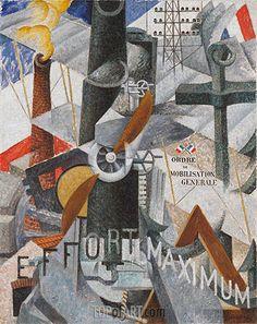 Gemälde Titel: Visuelle Synthese der Idee: Krieg, 1914 | Künstler: Gino Severini (inspired by) (1883-1966) | Kunstgemälde Reproduktion von TOPofART.com