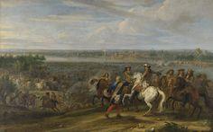Adam Frans van der Meulen | Louis XIV Crossing into the Netherlands at Lobith, Adam Frans van der Meulen, 1672 - 1690 | Lodewijk XIV, koning van Frankrijk, trekt bij het Tolhuis bij Lobith de Rijn over, op 12 juni 1672. Op de voorgrond de Franse koning gezeten op een paard tussen zijn officieren. Bij de oever van de Rijn vuren kanonnen op de Hollandse troepen op de overzijde. In het midden waden de Franse legers door het water naar de overzijde.