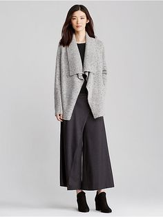 Shawl Collar Long Jacket in Donegal Mohair Tweed Tweed Jacket, Vest Jacket, Style And Grace, My Style, Long Jackets, Elegant Outfit, Black Cardigan, Eileen Fisher, Sweaters For Women