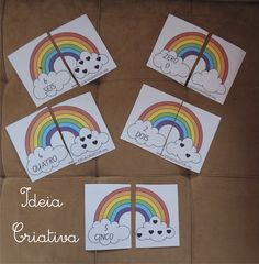 Só Jogos Pedagógicos: Jogo Pedagógico Arco-íris de Numerais House Slide, Rainbow, Education, Drawings Of Men, Educational Games, Rainbows, Secondary School, Classroom, Rain Bow