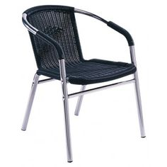 Anodized aluminum frame Polyethylene wicker weave seat and back Stackable 1-Year Limited Warranty