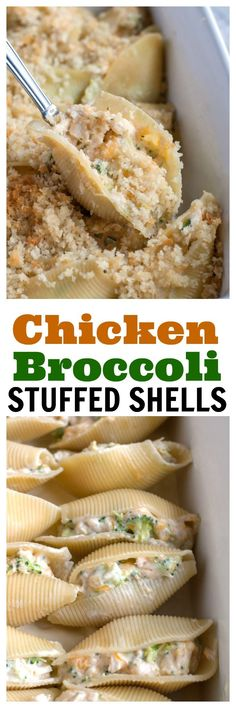 Chicken and Broccoli Stuffed Shells - Jumbo pasta shells filled with chicken, broccoli, cheese and an easy homemade Alfredo sauce,all topped with buttered bread crumbs. #stuffedshells #chickenbroccoli #easydinner #easyrecipe #pasta #freezermeal