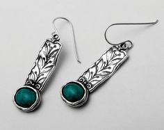 Amazing Turquoise 925 Silver Earrings With Green Stone