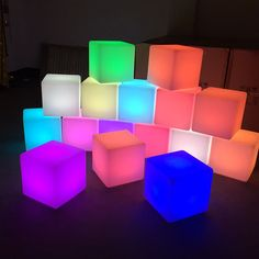 LED Light Up Cube Decor Centerpiece Lamp Light with 9 Color and Light Modes. LED Light Cube decorative lights are great for tabletop centerpiece decorative displays.
