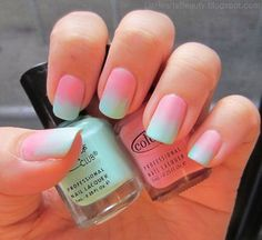 Pastel colored Ombre nail art. Try out this baby blue and baby pink combination on your nails and see the sweet and soothing effect it gives.