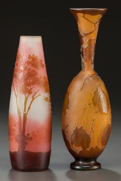 Art Glass:Galle, TWO GALLÉ OVERLAY GLASS VASES. Circa 1900, Cameo: Gallé.8-1/4 inches high (21.0 cm) (taller).