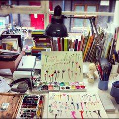 Inside the studio of illustrator Yasmeen Ismail. You can read an interview with Yas over on my Om Pom Happy blog as she shares an insight into her work, sketchbooks and day. Her books includevSpecs for Rex and Time for Bed, Fred. http://ompomhappy.com/2015/05/29/yasmeen-ismail/