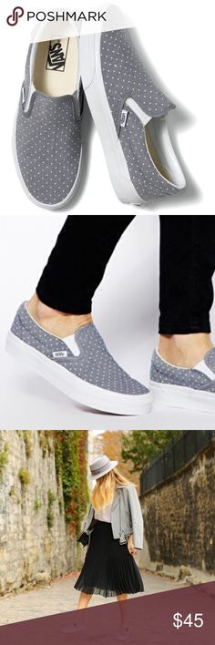 VANS Chambray Dots Classic Slip-Ons *actual pictures coming soon* Gently used VANS Classic Slip-Ons in Chambray Dots pattern💛Adorable small white Polka dots on a blue-gray background color. Perfect pair for any outfit!💁🏼 Women's size 7🌵   🎀Reasonable offers only please, no trades 🎀Price is FIRM when on FLASH SALE.    🎀Any questions? Ask!  🎀Zoom in on pictures!  🎀All my products are 100% authentic! Vans Shoes Sneakers