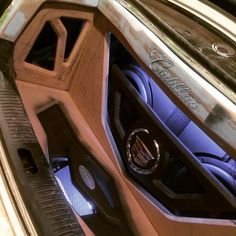 Cadillac custom car stereo trunk install. no fiberglass, only a router. leds subwoofers amps
