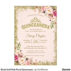 Shop Sweet 16 Party - Blush Pink Gold Glitters Floral Invitation created by CardHunter. Personalize it with photos & text or purchase as is! Blush Wedding Invitations, Sweet 16 Invitations, Bridal Shower Invitations, Birthday Party Invitations, Quince Invitations, Invites, Wedding Stationery, Modern Invitations, Pink Und Gold