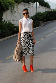 White Leopard print pencil skirt