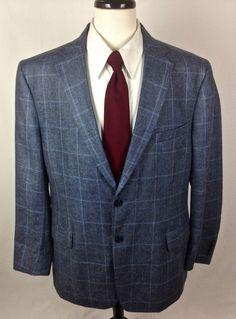 Jos A Bank Blazer 46 Blue Silk Linen Sport Coat Lightweight Jacket 46R Mens #JosABank #TwoButton