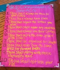 10 Commandments of a Sorority