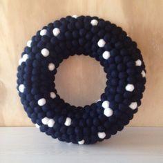 Felt Ball Wreath Black with White Dots Felt Ball Wreath, Balls, Dots, Wreaths, Crafty, Stitches, Door Wreaths, Deco Mesh Wreaths, Floral Arrangements