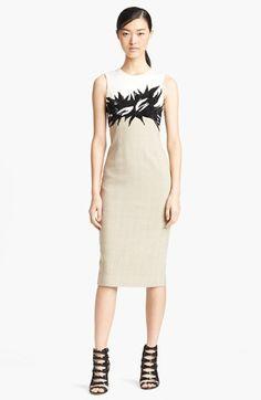 Jason Wu Botanical Appliqué Tweed Sheath Dress