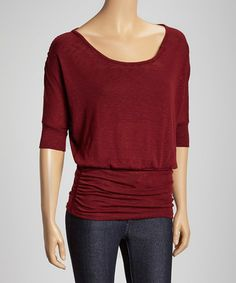 Another great find on #zulily! Burgundy Ruched Scoop Neck Top by Casa Lee #zulilyfinds