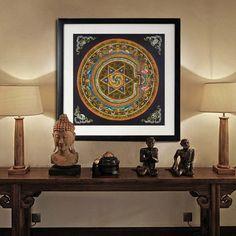 Fe santuario budista mandala Nepal tibet thangka buda óleo de la lona de arte…