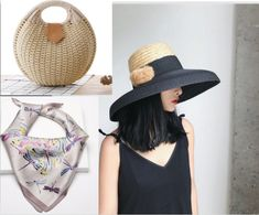 3a829f8e Hat Straw Round Vintage Handbag & Scarf Silk Elegant Set Inspired By  Tiffanies #Vintage