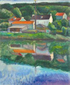 Czigány Dezső (1883-1938)  Párizs környéki táj (Tükröződés), 1935  Olaj, vászon, 65x53 cm