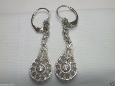 Antique Art Deco European Diamond Earrings Platinum Vintage Filigree Rare Estate