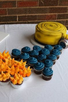 Fire hose, water, and fire, cake and cupcakes Fireman Birthday, Fireman Party, Fireman Wedding, 4th Birthday, Birthday Ideas, Firefighter Birthday Cakes, Fire Cake, Fire Cupcakes, Fire Fighter Cake