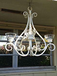 #birdfeeder chandelier upcycled white, vintage style bird feeder chandelier, white bird feeder chandelier