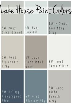 The Best Lake House Paint Colors - calming blue and gray tones that all coordinate for a seamless color pallet for a lake home. The Best Lake House Paint Colors - calming blue and gray tones that all coordinate for a seamless color pallet for a lake home. Paint Schemes, Colour Schemes, Colour Palettes, Coastal Color Palettes, Color Combinations, Color Palette Gray, Beach Color Schemes, Pintura Exterior, Exterior House Colors