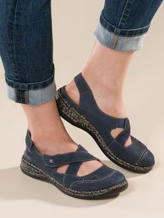 Shop Women's Rieker Crisscross Daisy Sandals. Pebbled leather sandals in denim color feature adjustable front & back straps for a custom-feel fit. Wide toe boxes & plush padding.