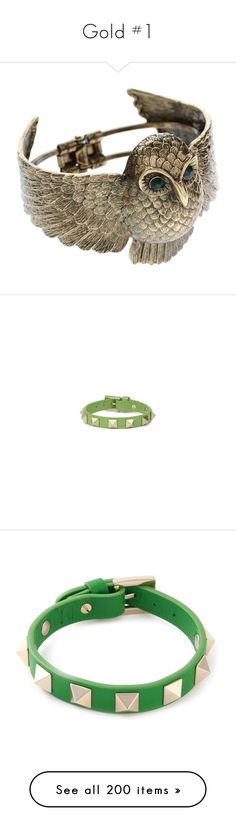 """Gold #1"" by megsjessd99 ❤ liked on Polyvore featuring jewelry, bracelets, accessories, owl, rings, women, engraved bangle bracelet, metallic jewelry, hinged bracelet and owl jewellery"