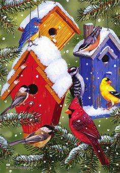 halloween birdhouses and mailboxes   Winter Birdhouses Seasonal Decorative House & Garden Flags