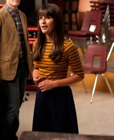 "#Glee: Rachel Berry's season 3 style -- ""A caramel and black striped top from Zara paired with an American apparel skirt that's a little below the knee. It's a little Parisian-inspired."""