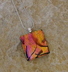 New to GlassCat on Etsy: Pink and Copper Glass Pendant Small Fused Glass Pendant Dichroic Pendant Square Glass Pendant Glass Slide - Sunset Color Glass Pendant (18.00 USD)