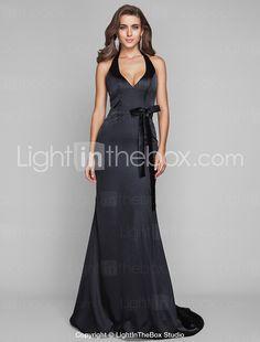 Elegant satin black evening dress