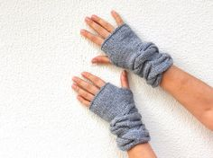 Fingerless Gloves Wrist Warmers Mittens Grey Gray Warm Cozy Women Gloves Women Accessories