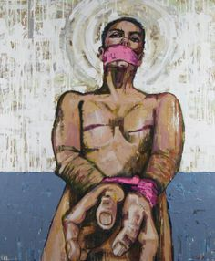 """""""Strapped (by Awareness)"""" by artist Chip Southworth from the series Real Awareness: Paintings on Breast Cancer 60 x 72"""" Mixed Media on wood panel"""
